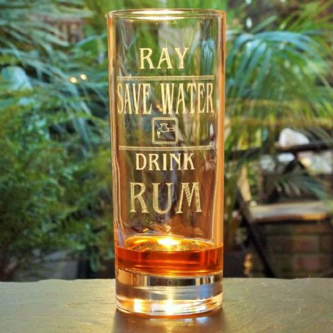 Save Water Drink Rum Personalised Engraved Drinks Glass
